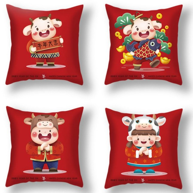 [READY STOCK] 2021 Chinese New Year Cow Zodiac Pillow Case/ Sofa Cushion Cover