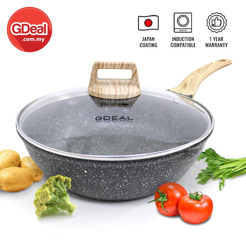 GDeal 28cm Kitchen Non-Stick Cooking Frying Pan Multifunctiona Kitchen Cooking Pan With Modern Wooden Holder Cookware