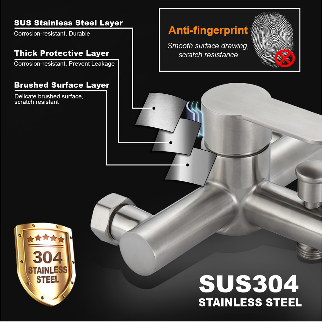 6''Stainless Steel Rainfall Shower Set Faucets /&Hand Shower Shower Set Faucets