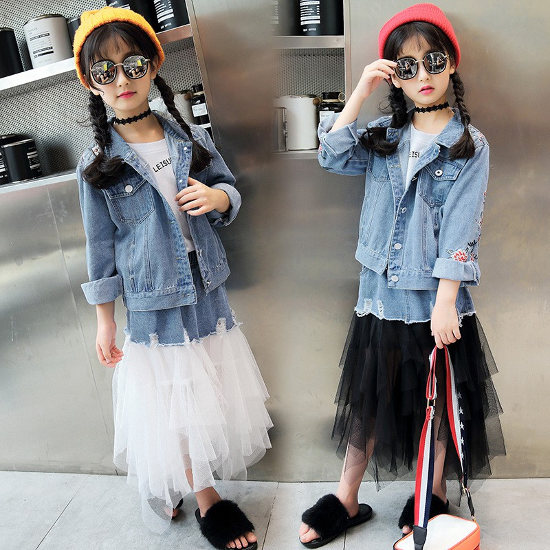 906092b5b8272 Girls Clothing Denim Coat + Tulle Skirt 2pcs set Embroidered Cowboy Kids  Clothes