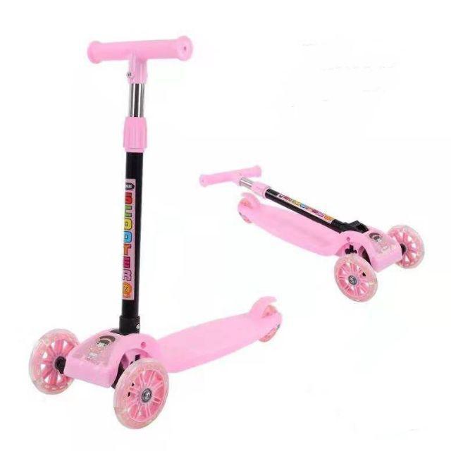 [ READY STOCK ]  Scooter Tricycle Baby 3 In 1 Balance Bicycle Ride On Toy Flash Folding Kick Kid Baby Jualan Murah Mainan