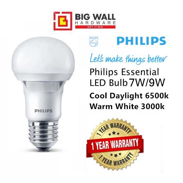 Philips Essential LED Bulb 7W/9W E27 220-240V Cool Daylight/Warm White *1 year Warranty Ready from Malaysia