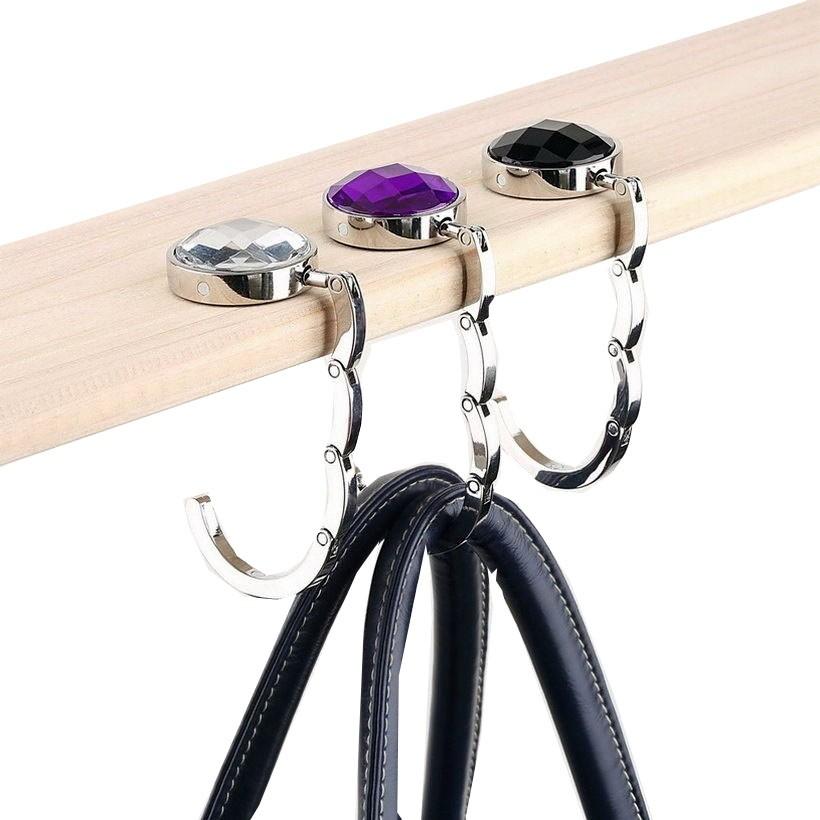 Round Rhinestone Handbag Hanger Foldable Diamond Bag Hook Handbag Purse Holder