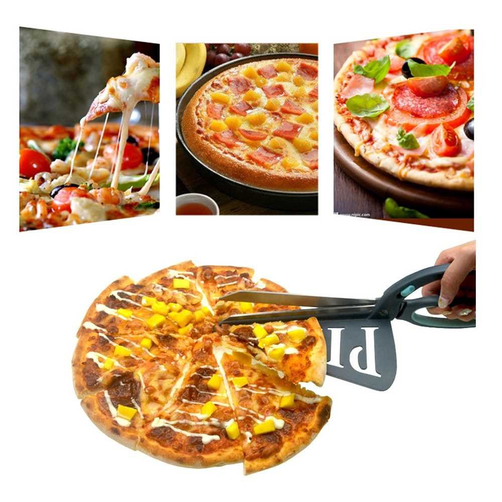 Stainless Steel Pizza Scissors Pizza Cutter Wheel Shears with Spatula Non-Stick Pizza Stone Safe Pizza Cutter Server (