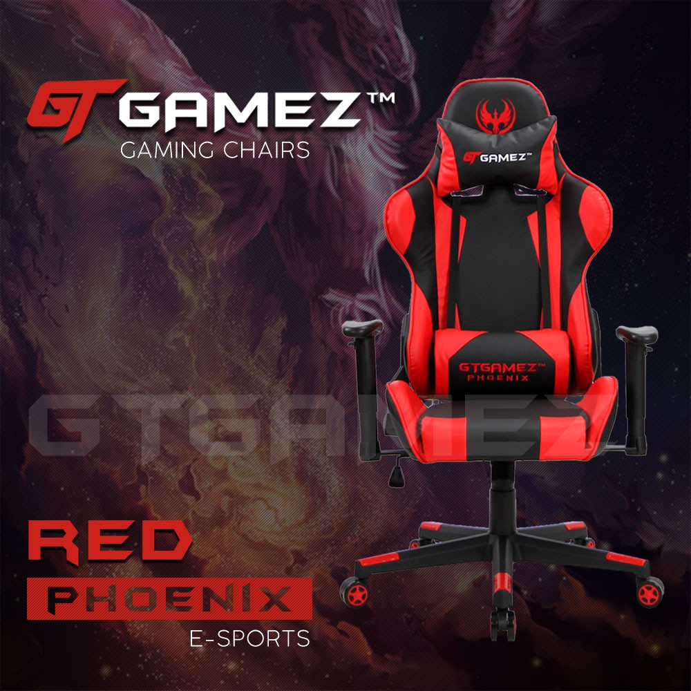 GTGAMEZ Gaming Chair GMZ-GC-YG-725 Phoenix Video Game Chair with Ergonomic Backrest Seat Height Adjustment and Pillow