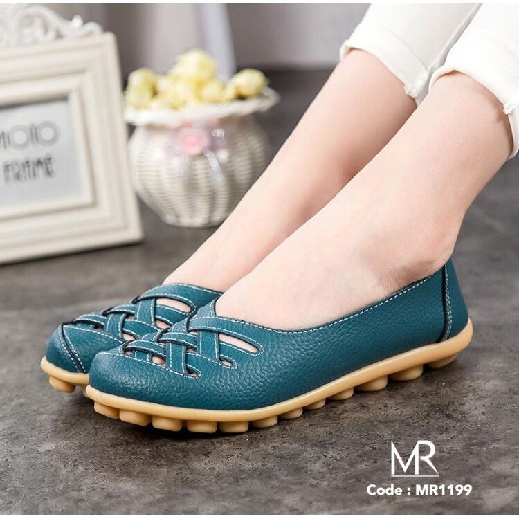 Meritshoes 1199 ฟ้า รองเท้าคัทชูหนังแท้ พื้นยางพา