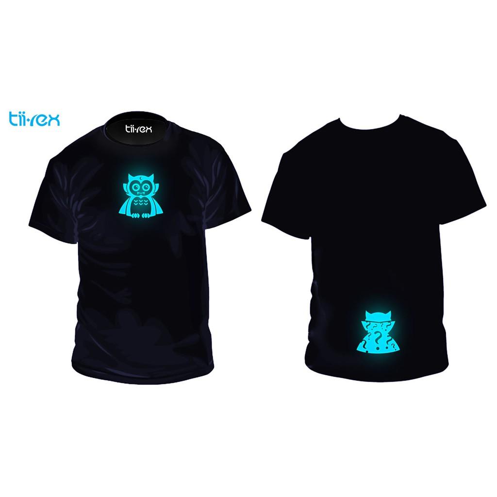 Halloween Vampire Owl Premium Gift Glow In The Dark Night Unisex Round Neck Cotton T-Shirt