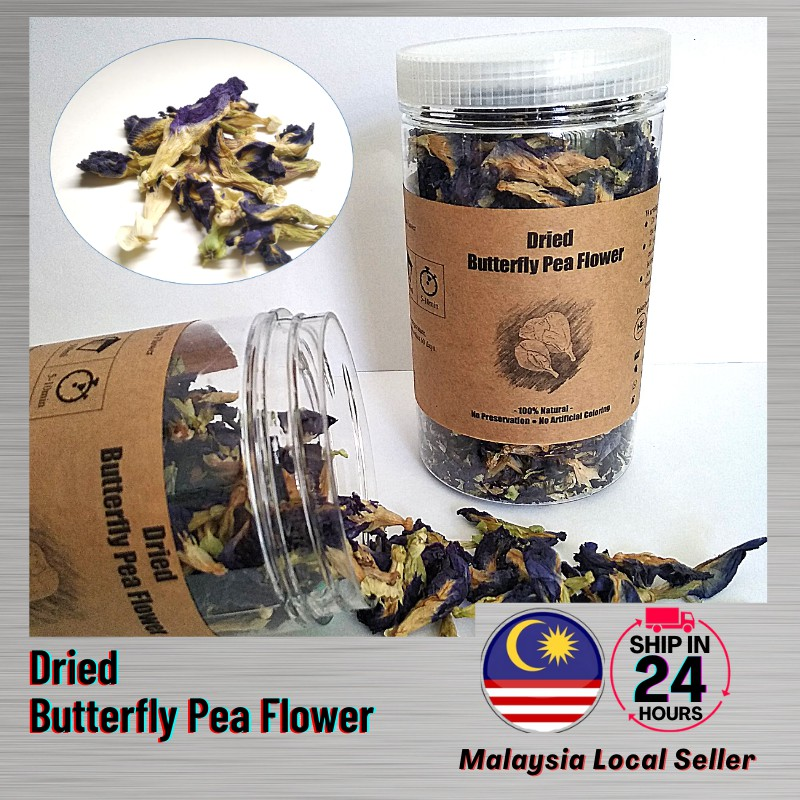 Ready Stock 30 gram - Dried Butterfly Pea Flower / Bunga Telang Kering