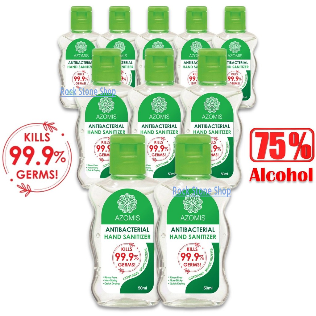 [READY STOCK] Azomis Anti Bacterial Hand Sanitizer Sanitiser 10 Bottles x 50ml (99% Kills Germs) 消毒杀菌洗手液 Approved by KKM