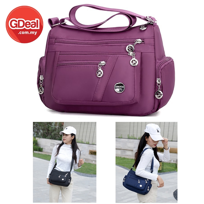 GDeal Crossbody Sling Bag Multi Compartment Waterproof Nylon Canvas Ladies Casual Messenger With Adjustable Strap