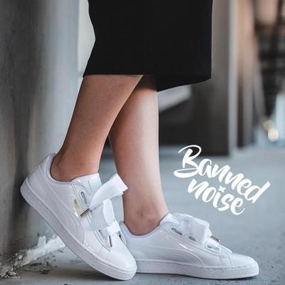 new style c4e4f 792e5 【ready stock】100%original Puma Basket Pure white patent leather ribbon bow  shoes