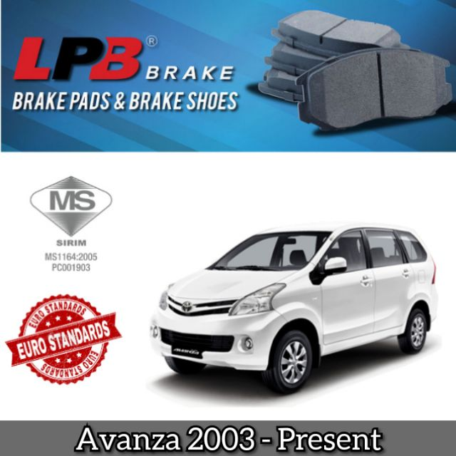 LPB Disc Brake Pad Front Toyota Avanza F601 1 3 F602 1 3 1 5 (4pcs in 1 box)