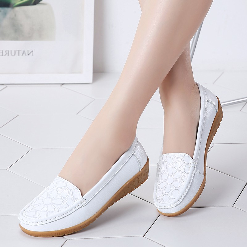 5ef38fa48b4a0 Women flat sandal Leather spring hollow embroidery nurse shoes wedges hole  shoes casual mother shoes large size women's