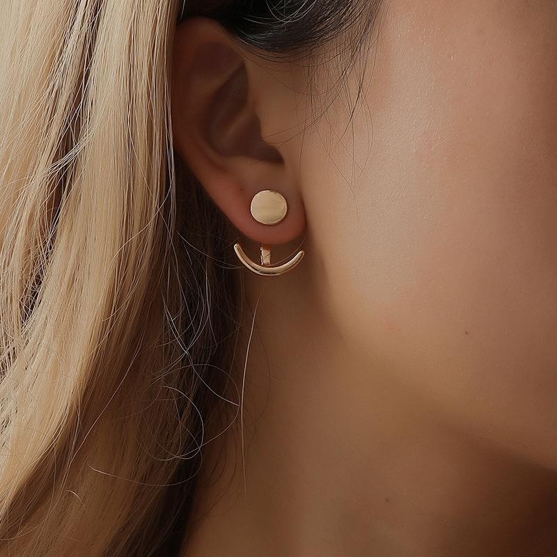 Sleek Minimalist Series Stud Earrings,Fashion Alloy Earrings Ear Ring Combination of Simple One Word Shape Earrings