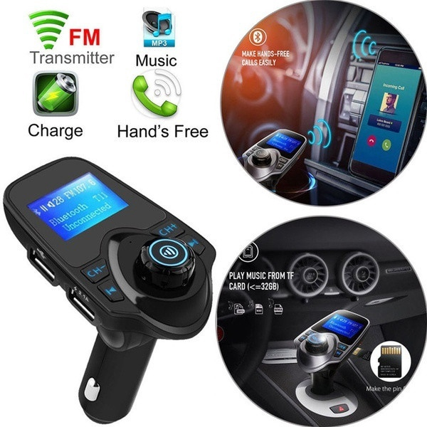 T11 Wireless LCD Screen Car Bluetooth FM Transmitter Hands-free Car Kits  Dual USB Car Charger MP3 Player w/ MIC
