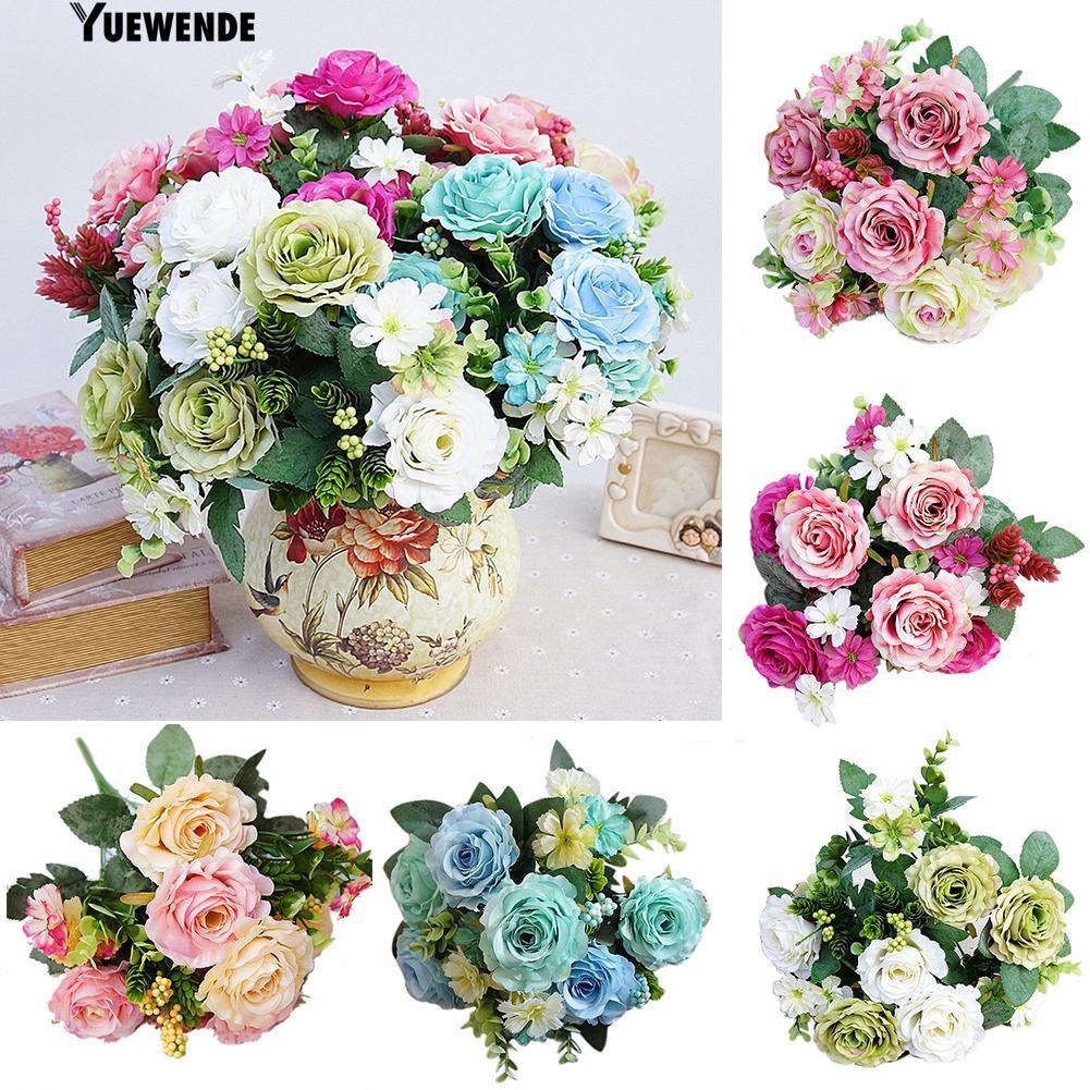 Yue 1pc Rose Flower Fake Plant Decor Diy Bridal Bouquet