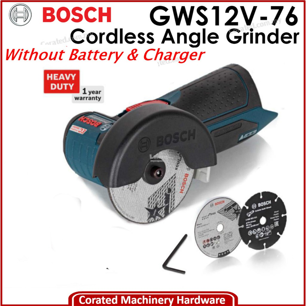 Without Battery and Charger Carton Bosch Professional Gws 12V-76 Cordless Angle Grinder