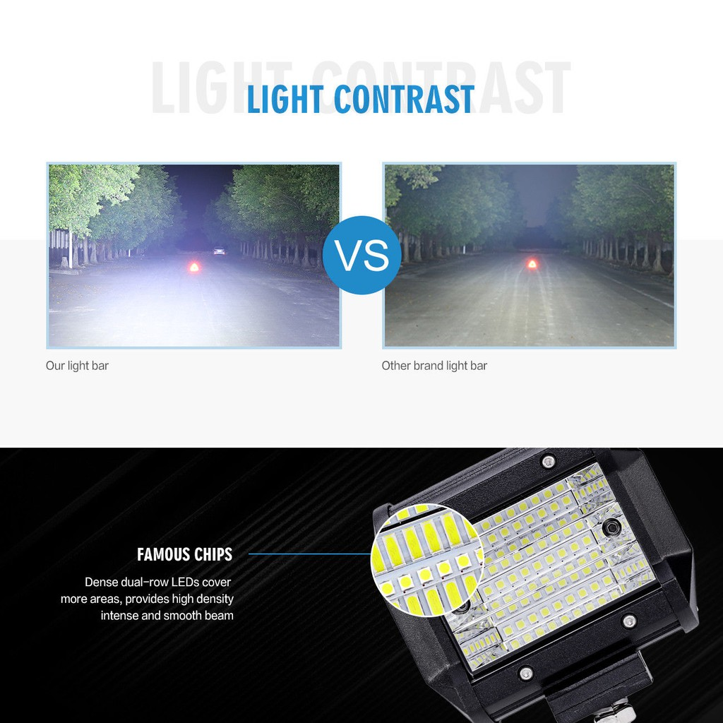 2X 4Inch Tri Row Cree Led Work Light Bar Pods Offroad Backup Driving Spot Flood