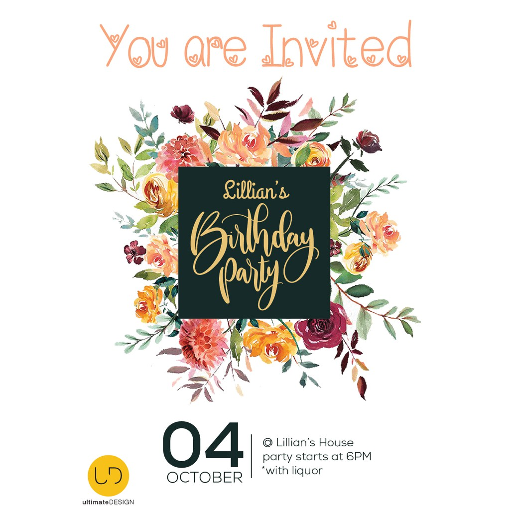 Birthday Party Invitation Card Design Template With Adjustable Size 生日派对请柬设计