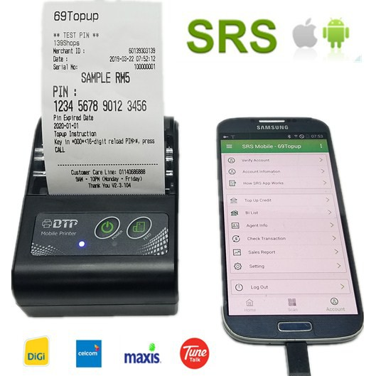 SRS Thermal Receipt Printer Bluetooth Topup Pay Bill for IOS/Andorid | Shopee Malaysia