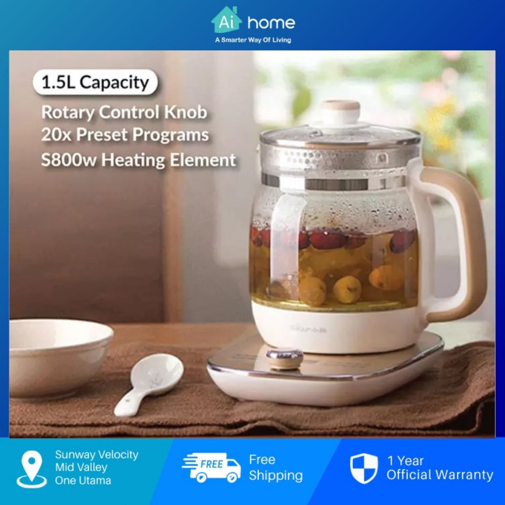 Bear Health Pot 1.5L YSH-A15W6 - Rotary Control Knob | 20 Preset Programs | 800W | 9.5H Time Setting [ Aihome ]