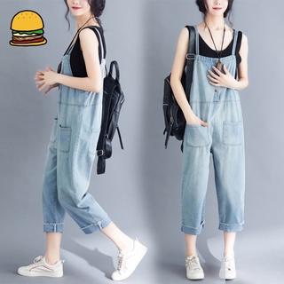 Fashion Women Casual Jumpsuit Suspender Trousers Ninth Pants for Summer Autumn