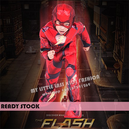 New Child Boys Flash Dawn Of Justice Jumpsuit Muscle Costume