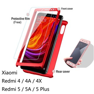 Redmi4/4A/4X/5/5A/5Plus/Note4/Note5 Case 360 Full Cover Case With Tempered Glass