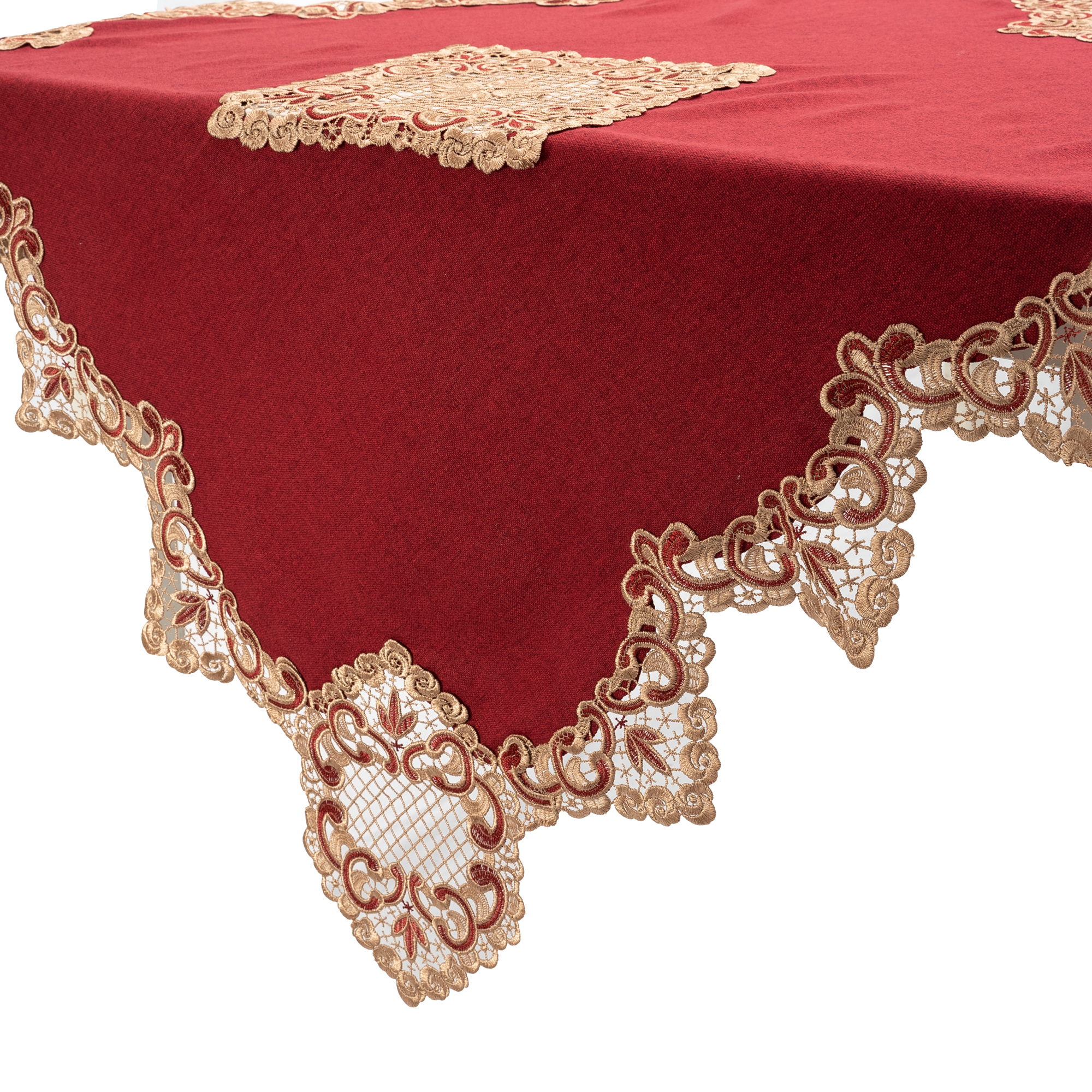 Peranakan Gold Floral Lace Square Coffee Tablecloth/Table Topper/Table Overlays. 87x87cm/34x34(Red Or Green)