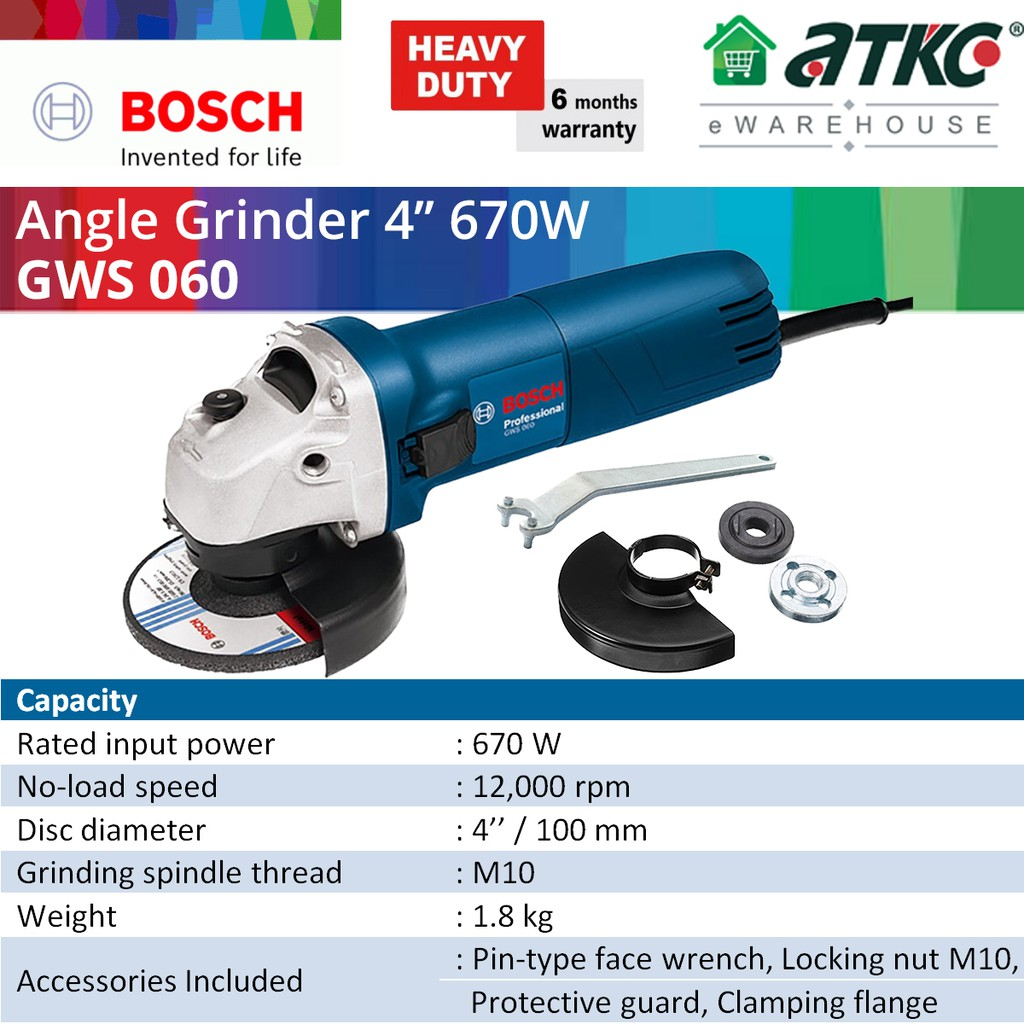 BOSCH GWS 060 Angle Grinder 4'' (100MM) Without Handle 670W (06013756L0)