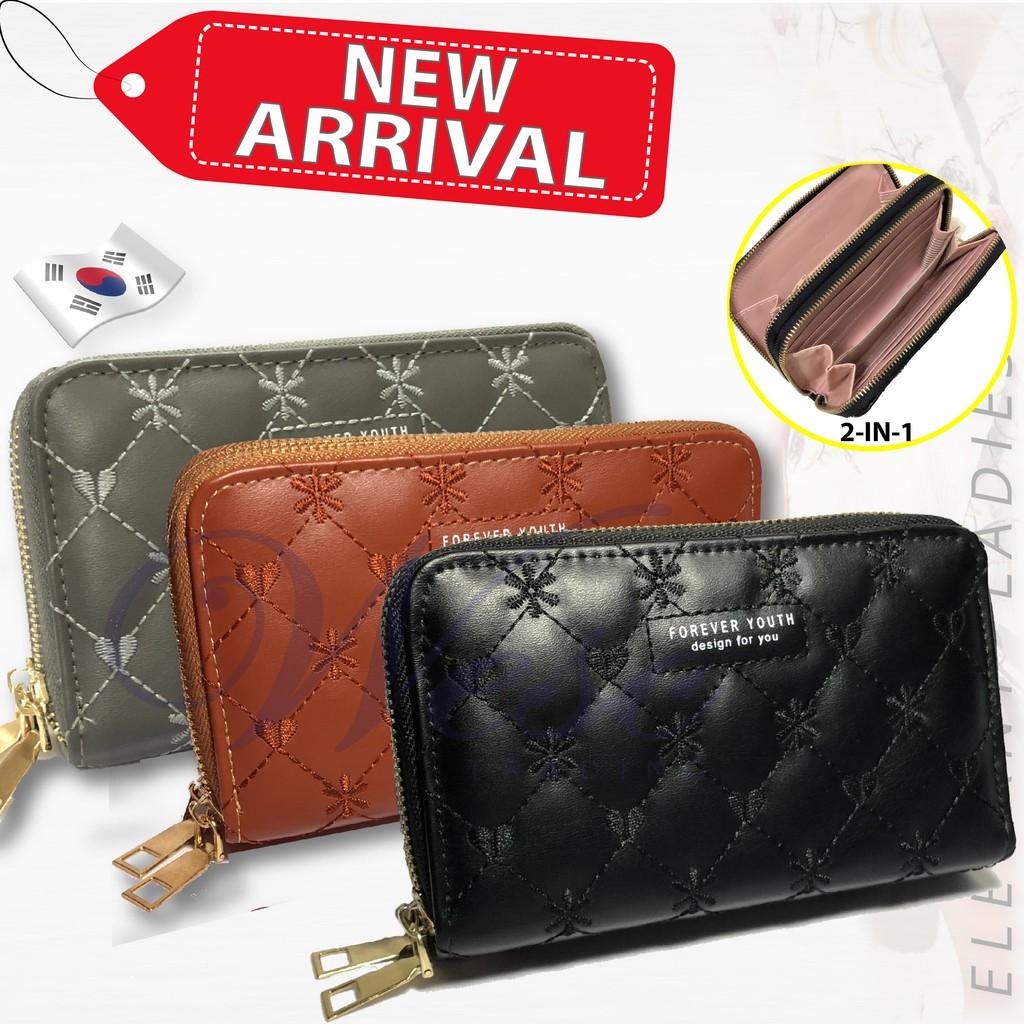 Korean Designer Trendy ALL-NEW 2-in-1 Long Zipper Purse / Women Wallet / Women Clutch / Purse