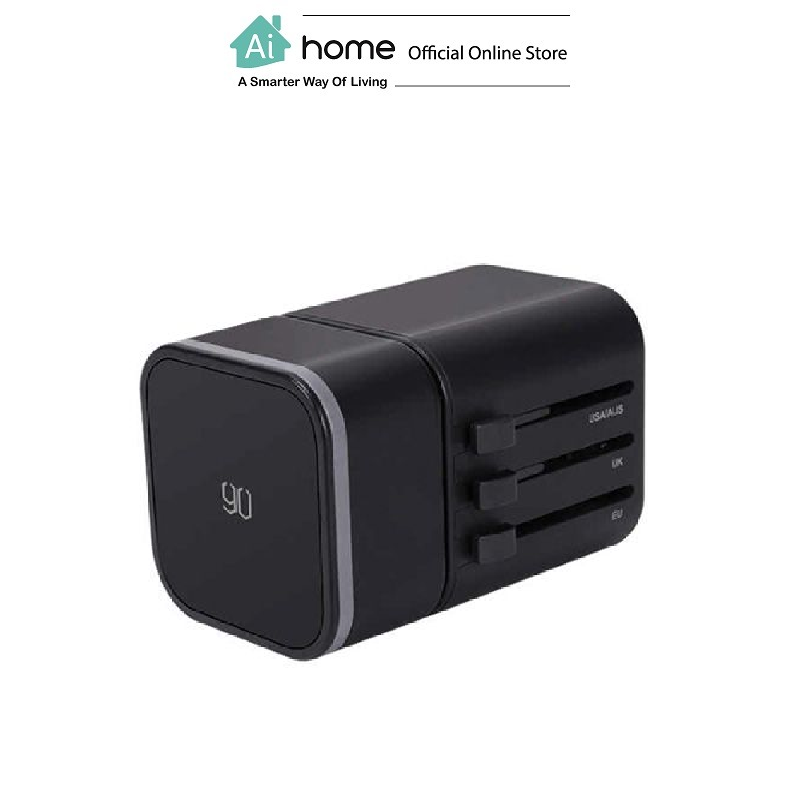 90FENG 2 In 1 Multi function Travel Conversion Plug (Black) with 6 Month Malaysia Warranty [ Ai Home ]
