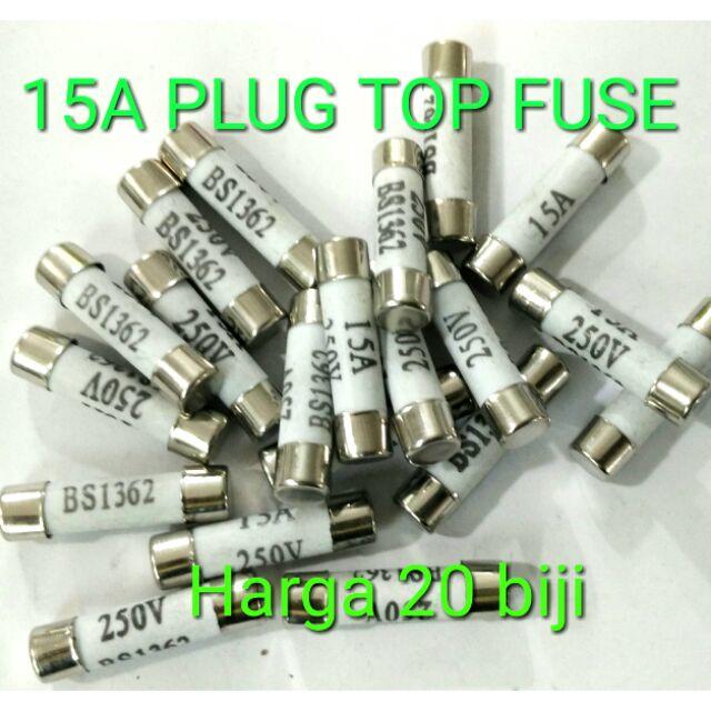 20 biji 15A Plug Top Fuse Plug top Fuse 15a