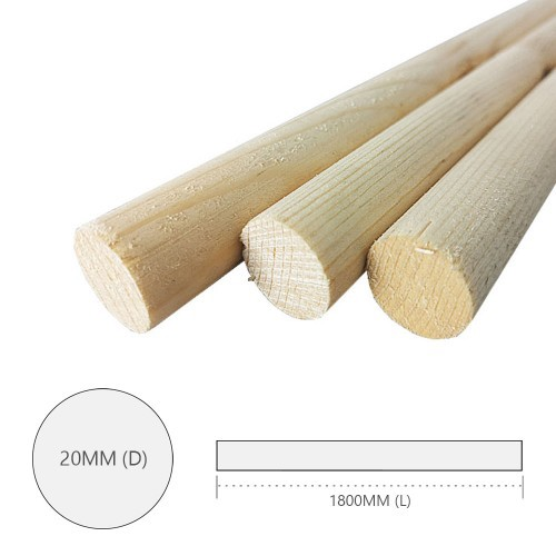 Pine Wood Timber Smooth Planed Round Dowel 20MM (D) x 1800MM (L) - 5PCS