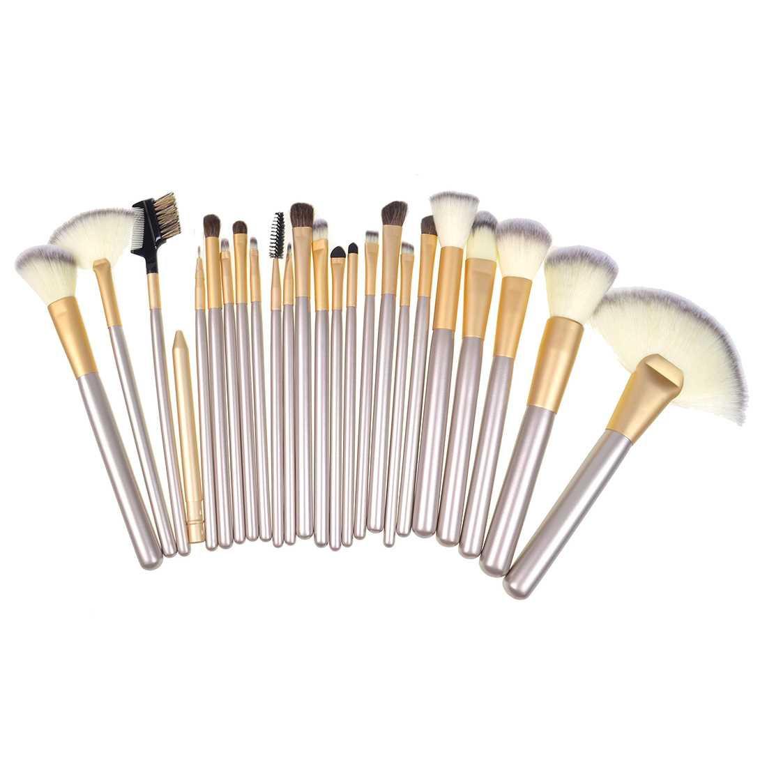 Hualiya Makeup Cosmetic Brush Set 24 Brushes with Bag (Beige)