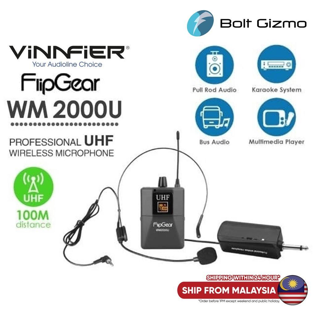 Vinnfier FlipGear Professional Universal UHF Wireless Handsfree Headset Microphone WM2000U