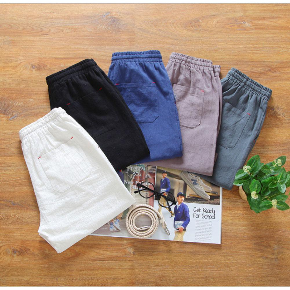 Men/'s Drawstring Linen Loose Shorts Solid Colors Cotton Summer Beach Hot Pants