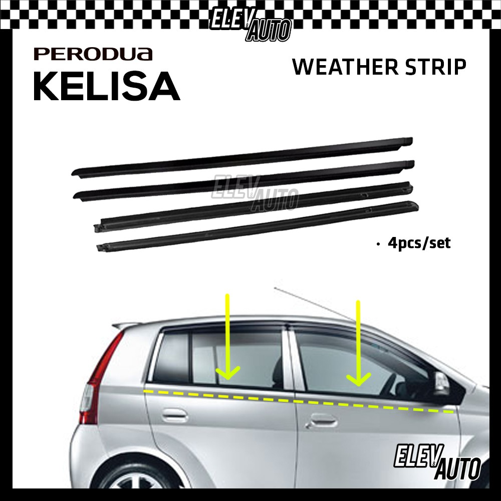 Perodua Kelisa Weather Strip Weatherstrip Window Moulding Belt 4pcs (Black)