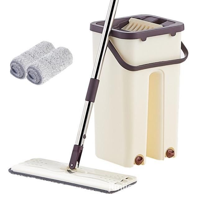 New Mop Self-Wash And Squeeze Dry Flat Mop With Bucket 2 Mop Pads 2 In 1 mop Lantai