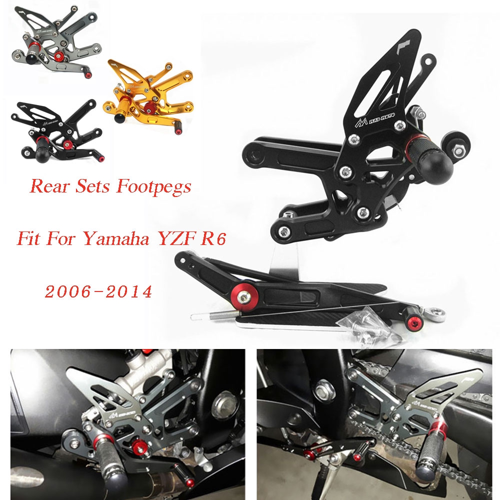 Rearsets Rear Sets Footpegs CNC Adjustable For Yamaha YZF R6 2006-2014