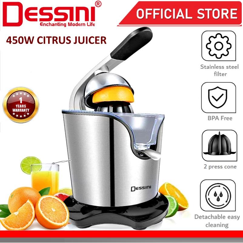 DESSINI ITALY Stainless Steel Electric Citrus Orange Juicer Squeezer Machine Pulp Control Juice Maker Extractor