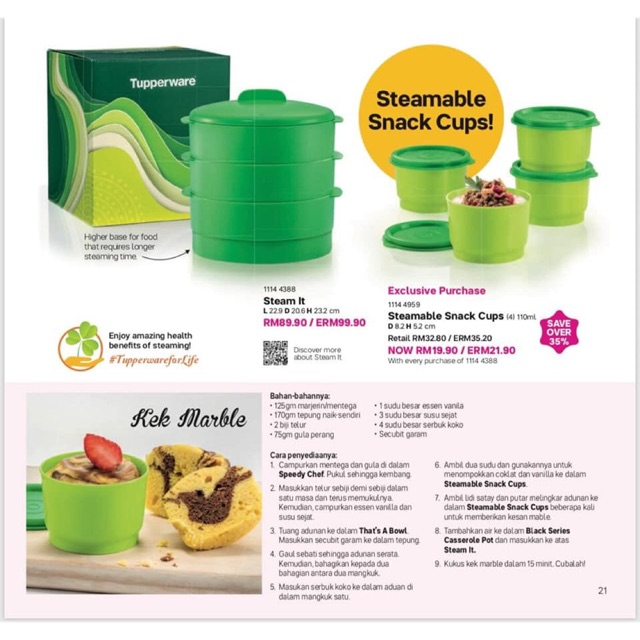Tupperware Steam It Set & Steamable Snack Cups 110ml (4pcs)
