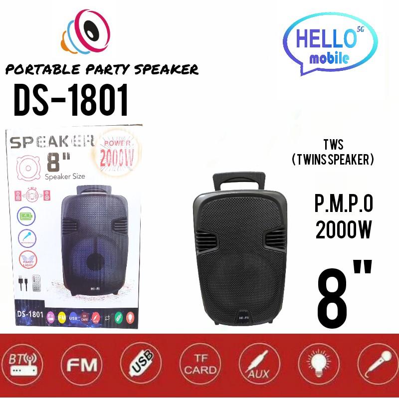 DS-1801 8'' PORTABLE PARTY SPEAKER SUPER BASS SPEAKER BLUETOOTH/USB/TF/LED LIGHT BS8 SPEAKER