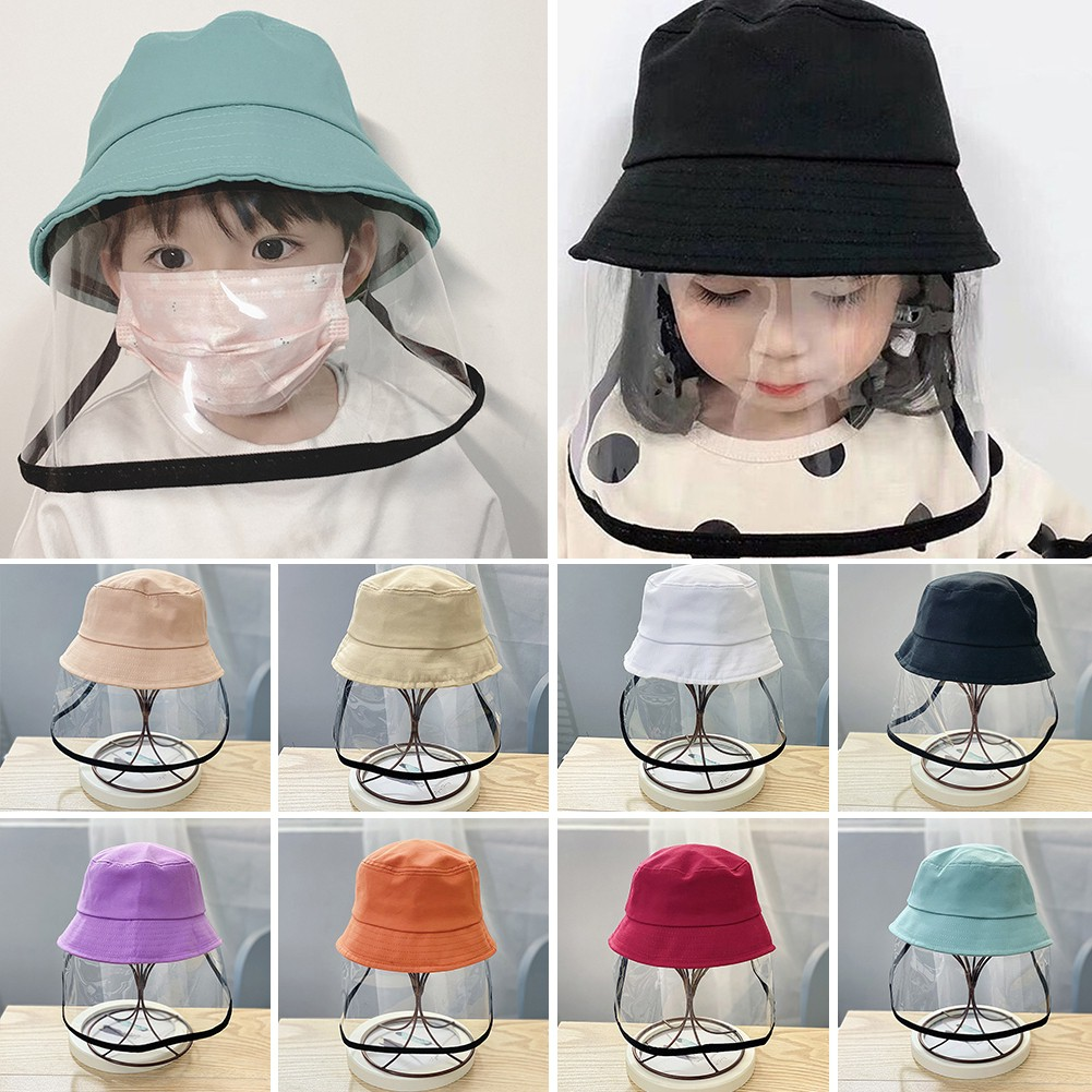 Afinder Babies Toddlers Cotton Bucket Hat with Anti Spitting Saliva Face Shield Mask Kids Outdoor Safety Sun Hat Protection Hat Detachable Anti-Fog Face Cover