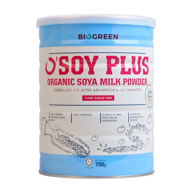 Biogreen O'Soy Plus Organic Soya Milk Powder Cane Sugar Free 700g
