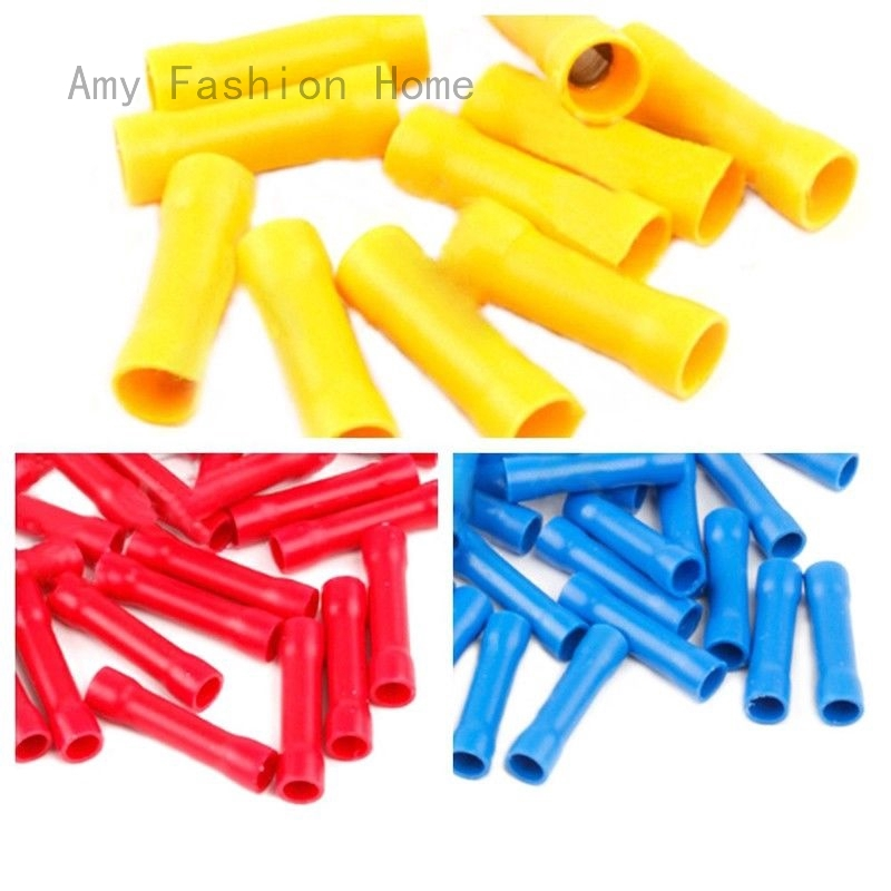 100PCS Fully Insulated Straight Butt Connector Electrical Wire Crimp Terminals