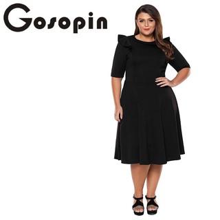 21131e6739de Shopee Women s Clothing Skirts Midi Skirts Gosopin Plus Size Elegant Office  Ladies Work Dresses Summer Ruffle Half Sleeve. like  0