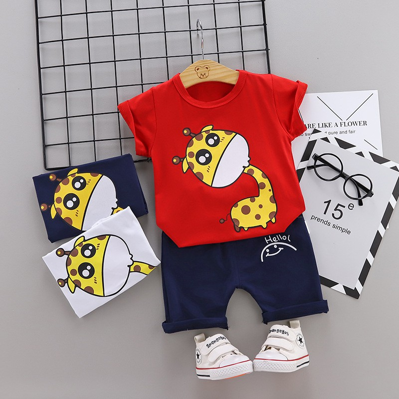 0-3T Toddler Kids Baby Boys Cartoon Dinosaur Crocodile T Shirt Grid Shorts Outfits Cute Summer Boys Soft Comfy Cotton Pajamas