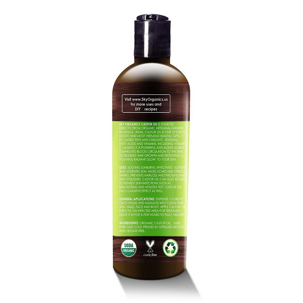 Castor Oil By Sky Organics 16oz: Cold-Pressed - 100% Pure