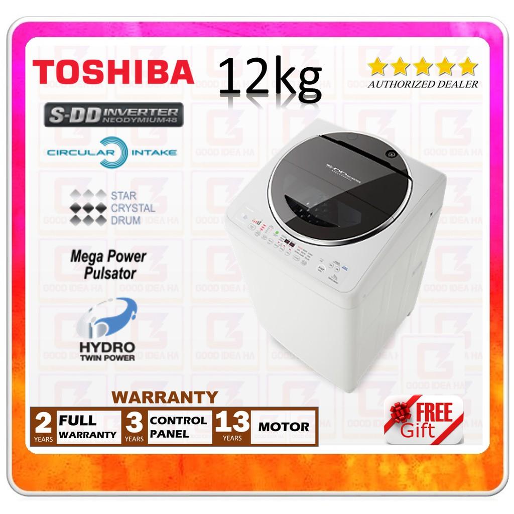 [12.12] *FREE GIFT* TOSHIBA SDD INVERTER 12KG WASHING MACHINE (AW-DC1300WM/ AW-DC1300/ AWDC1300WM)
